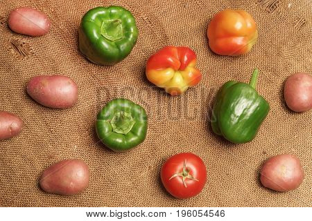 Potato peppers and tomato. Vegetables