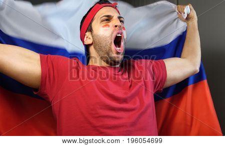 Russian Guy Waving Russia Flag