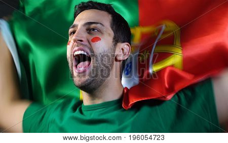 Portuguese Guy Waving Portugal Flag