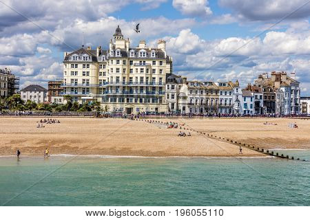 Town of Eastbourne seaside beach front in Sussex, England