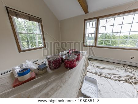 Room in a family house being painted