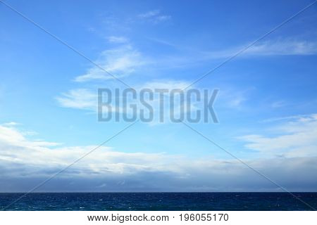Atlantic ocean - beautiful seascape sea horizon and blue sky. May be used as background