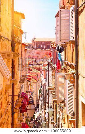 Narrow side street in Old town of Dubrovnik, Croatia