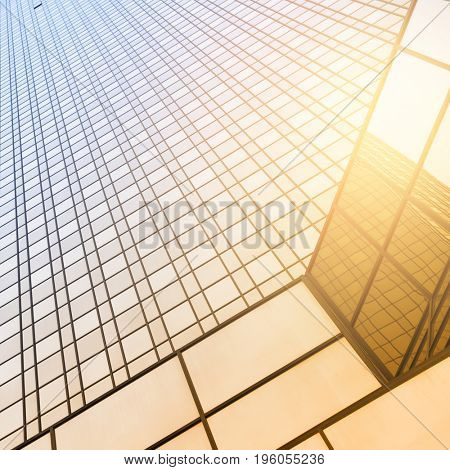 Perspective of office building - architectural background. Toned image
