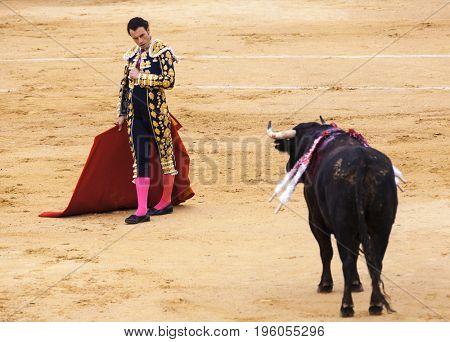 Spanish bullfight, bullfight. The enraged bull attacks the bullfighter. Spain 2017 07.25.2017. Vinaros Monumental Corrida de toros. Juan Jose Padilla.