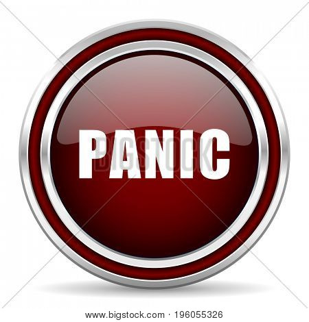 Panic red glossy icon. Chrome border round web button. Silver metallic pushbutton.