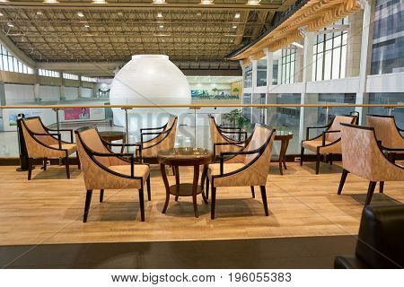 SEOUL, SOUTH KOREA - CIRCA MAY, 2017: a lounge at Gimpo Airport International Terminal. Gimpo International Airport is located in the far western end of Seoul.