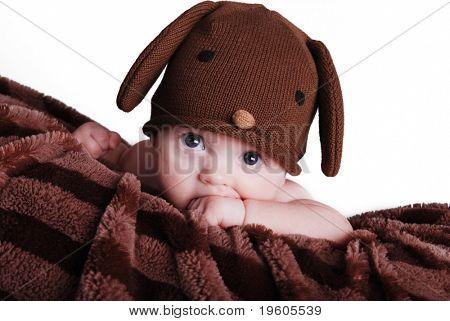 A cute baby boy wearing a puppy hat