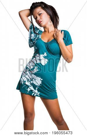 Beautiful filipino woman wearing short dress