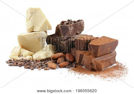Dark chocolate pieces and cocoa products on white background
