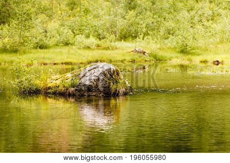 Calm River In Summer, Norway.
