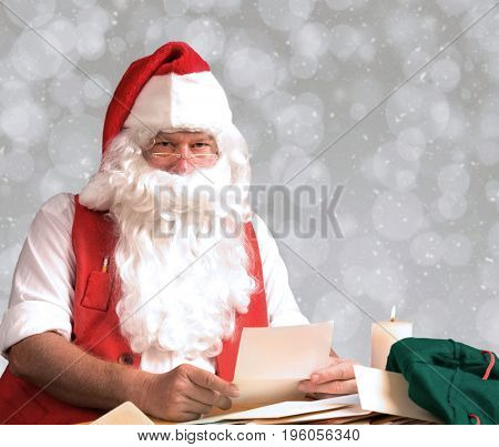 Closeup of Santa Claus letters from his mail bag. Horizontal format with ligh bokeh background.