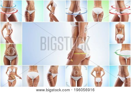 Health, sport, fitness, nutrition, weight loss, diet, cellulite removal, liposuction, healthy life-style concept. Collage of a female body with arrows.