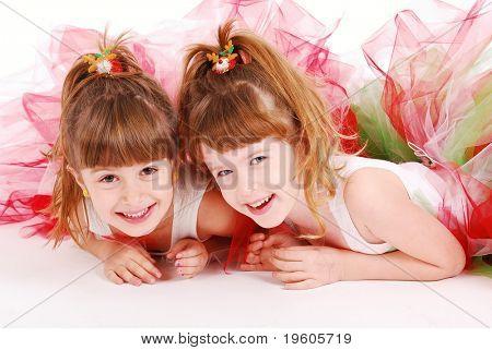 Two cute girls wearing tutu's