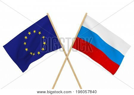 flags Russia and EU. Isolated 3D illustration