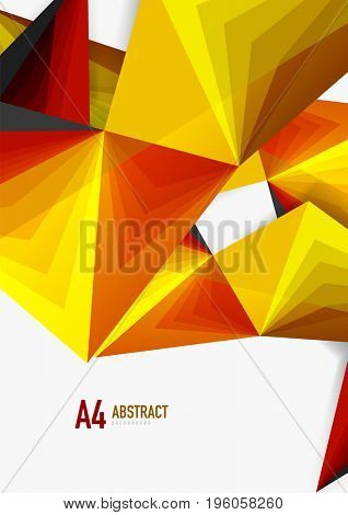 low poly style 3d triangle line, a4 business or technology abstract template
