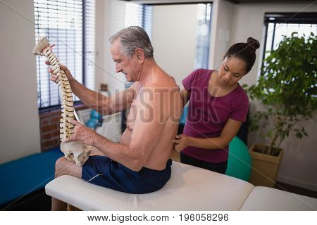 Female therapist examining back of shirtless male patient holding artificial spine at hospital ward