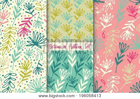 Vintage floral seamless pattern collection. Hand drawn abstract fancy grasses and leaves. Folk painting style. Summer blooming ornament. Repeatable backdrop.