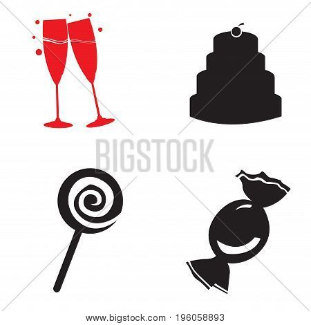 Set of birthday icons on a white background, Vector illustration