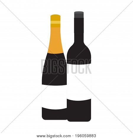 Isolated pair of wine bottles, Vector illustration