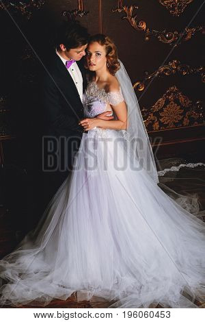 Beautiful bride and groom stand in tender embrace at a luxurious apartments. Wedding fashion.