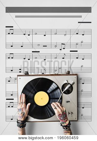 Hands working on musical instrument network graphic overlay background