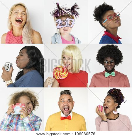 Collages diverse ethnic cheerful people