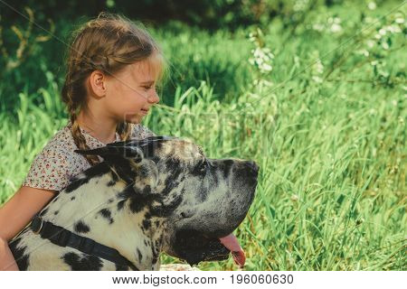 Happy little girl embracing her dog mastiff. Sunny summer day in the countryside.