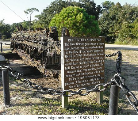 19th century shipwreck remains are displayed outside the grounds of Fort Gaines on Dauphin Island, Alabama. It washed ashore in Hurricane Georges.