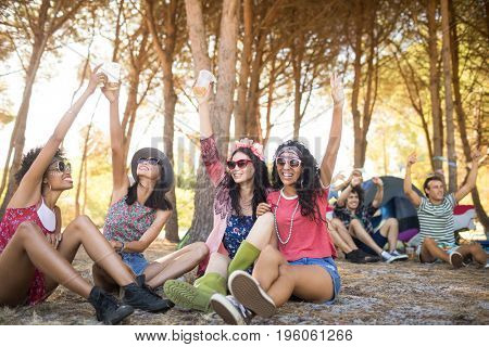 Cheerful friends with arm raised sitting on field at campsite