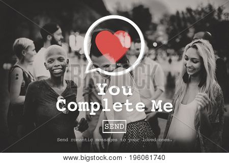You Complete Me Couple Love Anniversary Concept