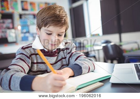 Smiling elementary schoolboy studying while sitting at desk in classroom