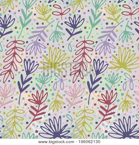 Floral hand drawn seamless pattern. Hand drawn abstract fancy leaves, flowers and grasses. Folk hand drawn style. Summer ornament. Colorful background.