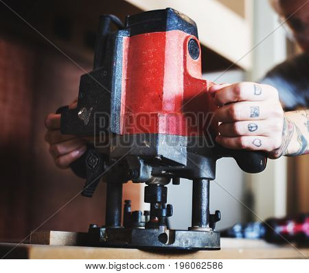 Carpenter woodworker working for house renovation