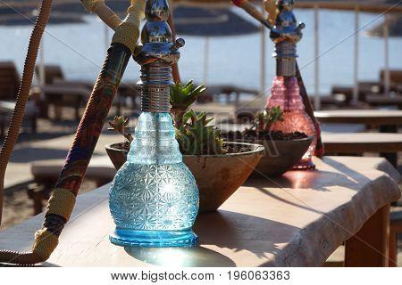 Hookah on the beach bar