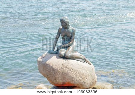 Copenhagen, Denmark-July 15, 2017: Little Mermaid statue in Copenhagen harbor