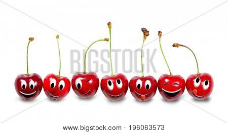 Group of cherries isolated on white background. Funny characters from the original idea of the concept.