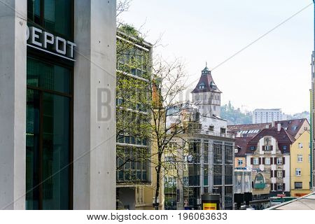 STUTTGART, GERMANY - April 12, 2017: Street view of  Stuttgart, GERMANY