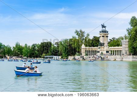 MADRID, SPAIN - April 20, 2017: Monumento Alfonso XII in Madrid