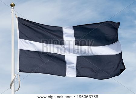 Cornish black and white cross flag of St Piran