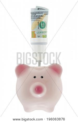 100 USD dollar money inside light bulb holder on pink piggy bank isolated on white ideal for saving electricity bill
