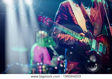 guitarist on stage - summer music festival