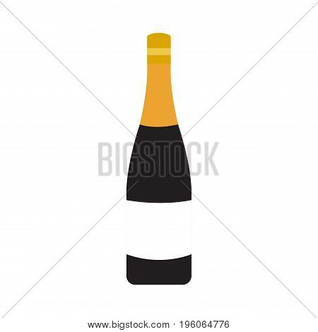 Isolated unlabeled wine bottle on a white background, Vector illustration