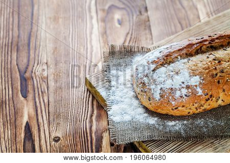 Bread on the wood background