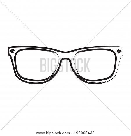 Isolated outline of glasses on a white background, Vector illustration