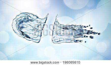 Water splash on blue bokeh background. 3d rendering