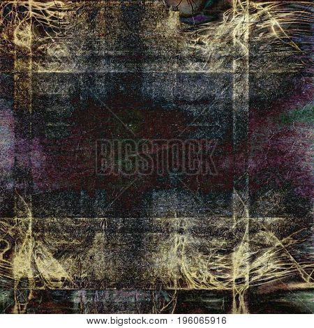 Vintage ancient background or texture with grunge decor elements and different color patterns: yellow (beige); brown; gray; green; purple (violet); black