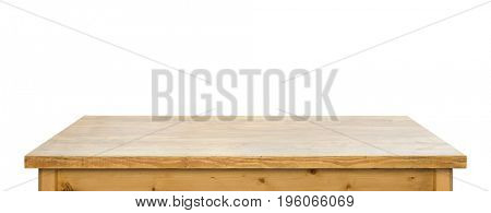 Used wooden tabletop on white background.