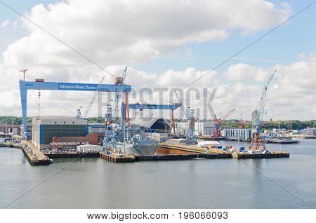 Keil, Germany-July 05, 2017: Keil harbor and German Naval works