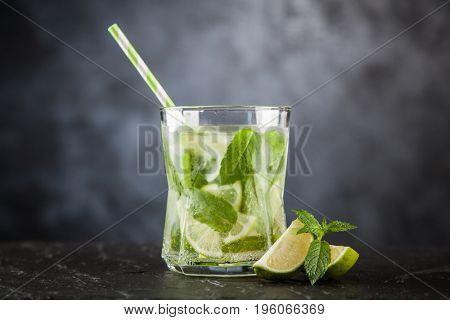 Mojito cocktail on dark background